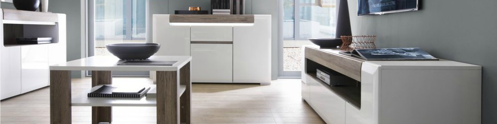 Toronto High Gloss White and Oak Effect Furniture